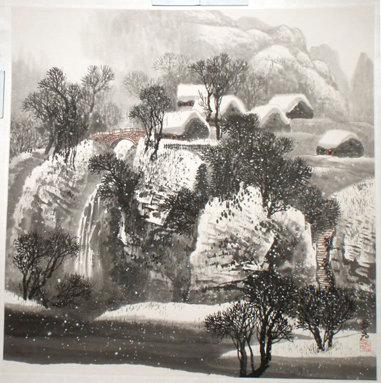 Chinese Ink and Color Winter Scene by Zhao Jingyan