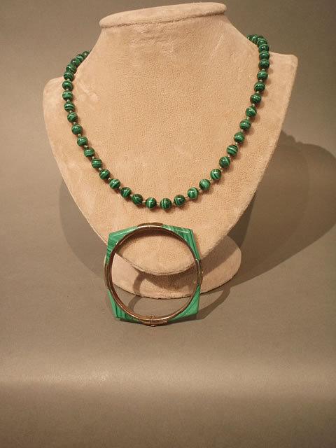 Malachite four section hinged Bracelet