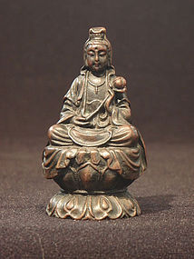 Small Vintage Bronze Seated Guanyin With Lotus
