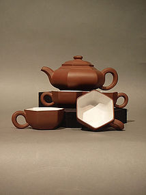 Classic Hexagonzal Yixing Teapot and Cups Wang Shigeng