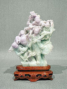 Lavender and Green Burmese Jadeite Carving of Deities