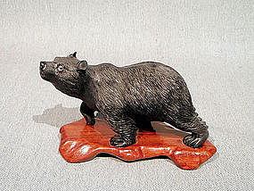 Naturalistic Carving of Bear from Onyx