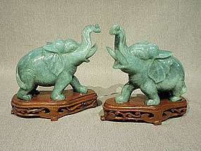 Aventurine Carved Pair Elephants