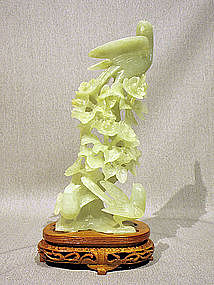 Graceful Phoenix Bird & Flower Carving from Serpentine