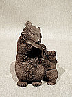 Lifelike Shoushan Carving of Bear and Cub