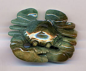 Jadeite Multi Colored Carving of a Crab