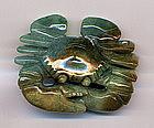 Jadeite Multi Colored Carving of a Crab