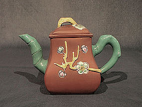 Enamel Decorated Vintage Yixing Teapot 3 Friends Winter