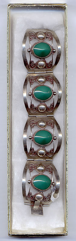 Vintage Taxco Silver Bracelet with Green Onyx