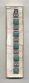 Vintage Mexican Silver Bracelet with Green Onyx