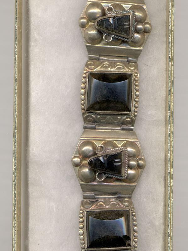 Vintage Mexican Bracelet with Black Onyx