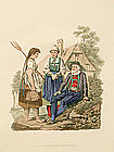 INSPRUCK PEASANTS Engraving Costume of Austria Moleville 1804 Antique