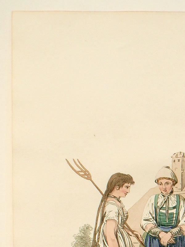 INSPRUCK PEASANTS Engraving Costume of Austria Moleville 1804 Antique