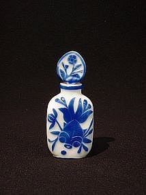 Rare Peking Glass Perfume Bottle Blue Overlay on White