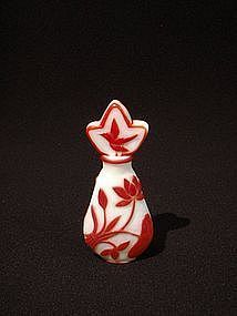 Rare Peking Glass Perfume Bottle Red overlay on White