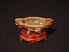 Ornate Quatrefoil Footed Carved Agate Cup with Dragons