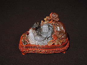Chinese Carved Agate Happy Buddha with Bat and Lotus