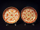 Pr Deep Iron Red and Gold Export Porcelain Dishes 9""