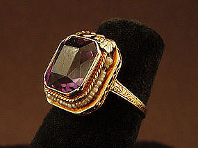 Antique 14K Amethyst Ring with Seed Pearls
