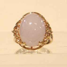 Lavendar Jadeite and Diamond Ring Set in 14K Gold