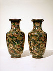 Pair Chinese Cloisonne Millefleur Vases in Olive Green