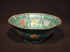 19 C. Large Cloisonne Foliate Bowl with Lotus Designs