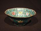 19 C. Large Cloisonne Foliate Bowl with Lotus Designs