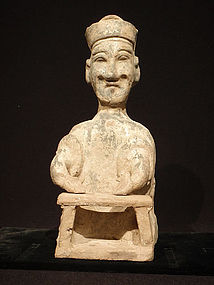 Han Dynasty Glazed Pottery Male Figure at Worktable