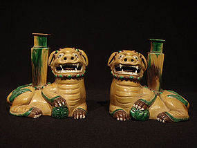 Pair of Chinese Foo Lion Joss Stick Incense Holders