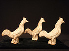 Han Dynasty 3 Small Terracotta Rooster Tomb Figures
