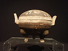 Chinese Han Dynasty Painted Pottery Ding Tripod