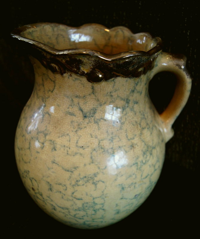 C1920 Ohio Yellowware Blue Spongeware Water Pitcher