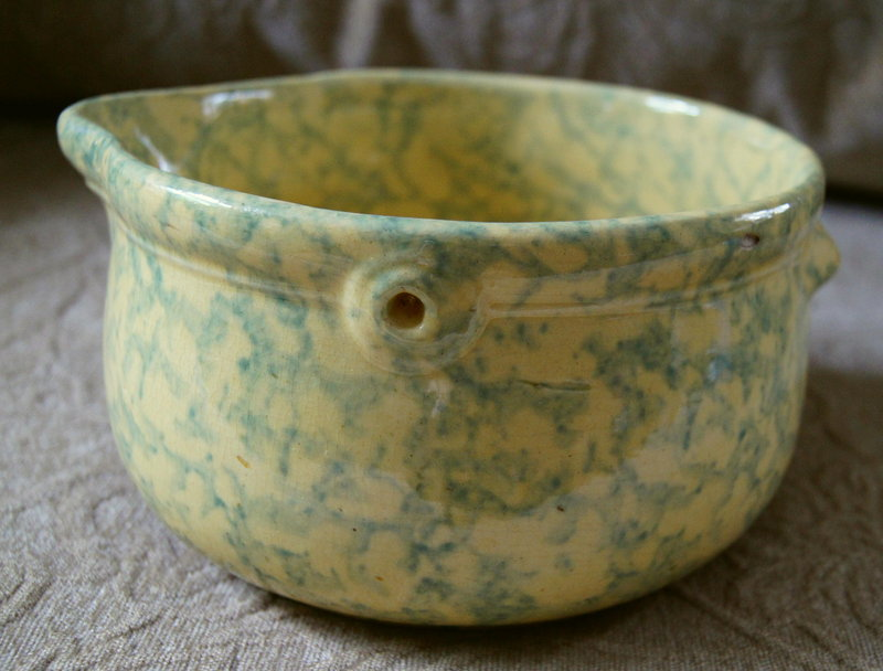 C1920 Spongeware Ohio Yellowware Blue Batter Bowl