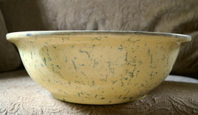 C1920 HUGE 15 inch Spongeware Ohio Yellowware Blue Bowl