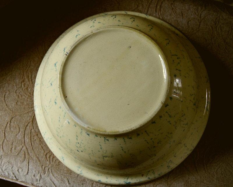 C1920 HUGE 15 inch Spongeware Ohio Yellowware Blue Bowl