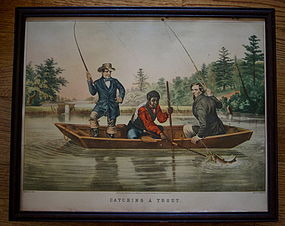 1854 Currier + Ives Black Memorabilia CATCHING A TROUT