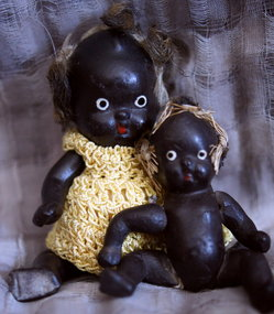 C1930s Pair Miniature Black Bisque Ceramic Baby Dolls