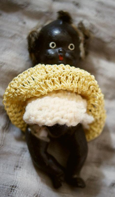 C1930s Pair Miniature Black Bisque Ceramic Baby Dolls