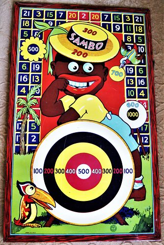 1932 Wyandotte Black Sambo Dart Toy Game Board with Original Stand