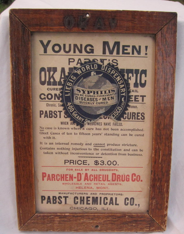 C1906 Rare Pharmacy Advertising Gonorrhea Syphilis VD STD Cure Sign