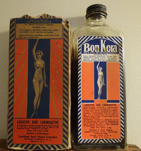 Graphic Obesity BonKora Patent Medicine Bottle w/Nude Female Image