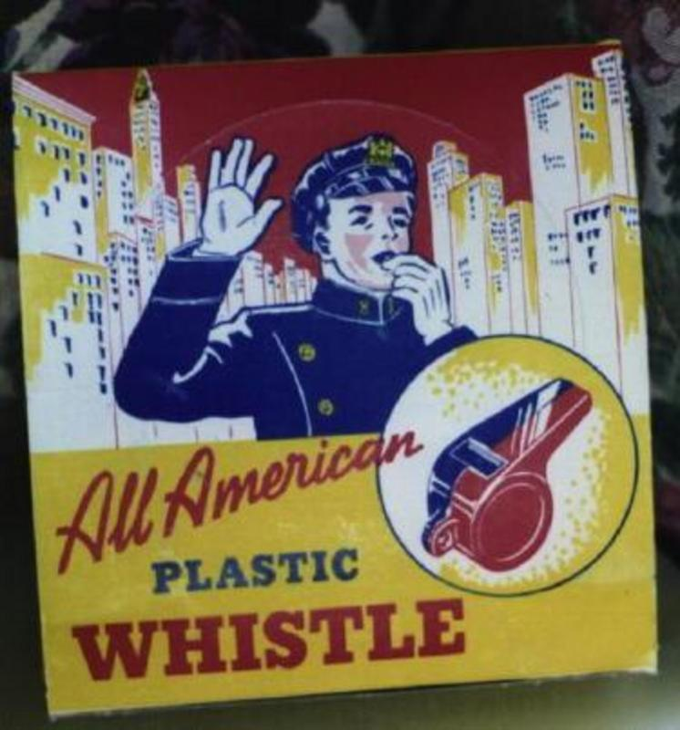 C1950s 24 Colorful Mint Toy Police Plastic Whistles Orig Display Box