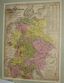 1840 Framed Atlas Map Europe Germany Switzerland Italy