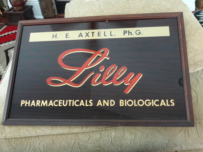 1940s Lilly Pharmacy Drug Store Reverse Painted Sign