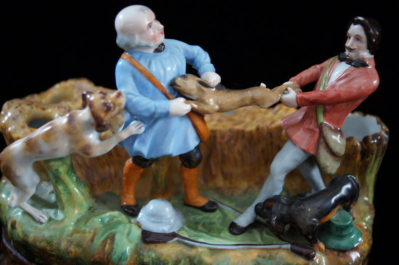 C1860 European Porcelain Inkwell Two Hunters Fighting Over A Hare