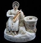 C1830 English Porcelain Inkwell Quill Holder Girl Playing Lute