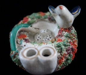 C1890 English Porcelain Ink Pen Quill Holder Dove in Nest and Serpent