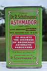 C1930s Schiffmanns Asthmador Asthma Remedy Pharmacy Drugstore Tin