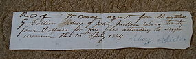 1864 MD Doctor Bill For Attending To Negro Slave Woman