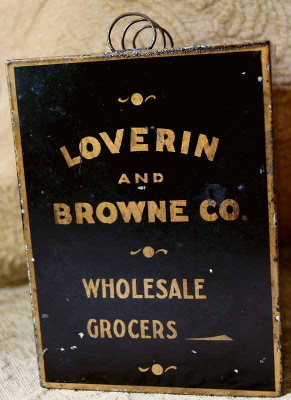 C1880 Tin Salesman Sample Case Loverin + Browne Grocers